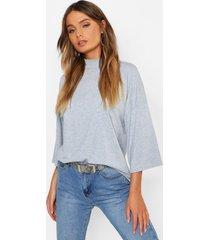 basic oversized high neck 3/4 sleeve t-shirt, grey marl