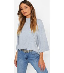 basic oversized high neck 3/4 sleeve t-shirt, grey marl