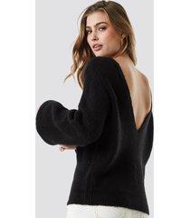 linn ahlborg x na-kd deep v back sweater - black
