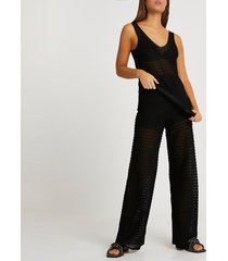 river island womens black sheer scallop wide leg pantss