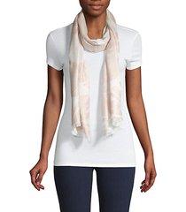 palm-print fringed scarf
