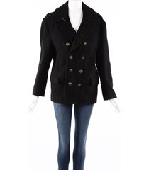 burberry brit black wool double breasted pea coat black sz: m