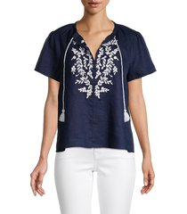 saks fifth avenue women's embroidered linen top - navy white - size l