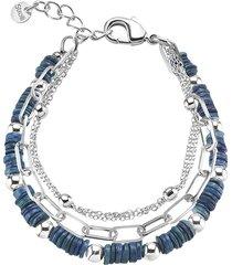 bracciale multicatena in ottone rodiato con elementi conchiglia blu per donna