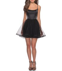 women's la femme satin & tulle fit & flare dress, size 0 - black