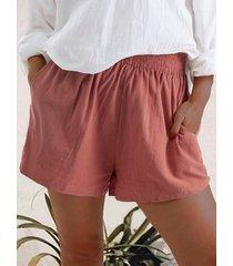 shorts de lino con bolsillos laterales