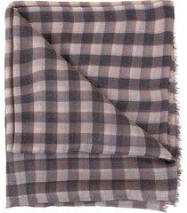 tobacco cashmere lurex check scarf
