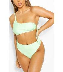 mix & match crinkle high waisted bikini brief, green
