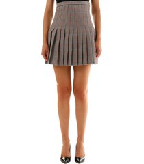 off-white checked pleated mini skirt