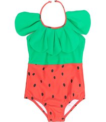 mini rodini strawberry-print swimsuit - red