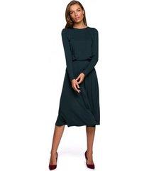 lange jurk style s234 fit en flare jurk - donkergroen