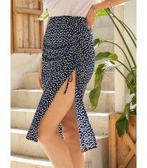 yoins falda a media pierna con dobladillo con abertura y cordón de calicó azul marino
