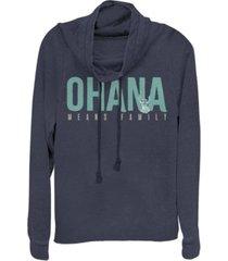 fifth sun women's disney lilo stitch ohana bold fleece cowl neck sweatshirt