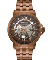 kenneth cole new york men's metal bracelet with skeleton automatic dial, 43.5mm