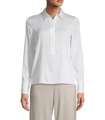 silk blend popover blouse