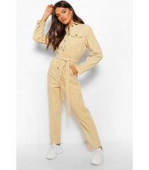 cord belted jumpsuit, stone