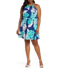 plus size women's gibson x living in yellow calla keyhole halter neck dress, size - (plus size) (nordstrom exclusive)