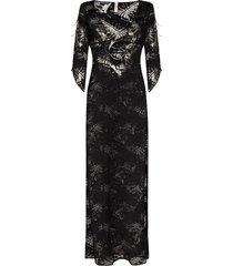 agent provocateur sheer leaf pattern midi dress - black