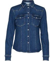 astridgz shirt overhemd met lange mouwen blauw gestuz