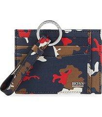 boss hugo boss men's camo-print leather card case - blue