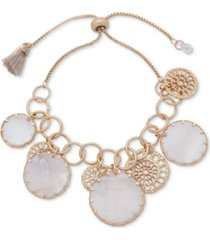 lonna & lilly gold-tone openwork disc & mother-of-pearl shaky slider bracelet