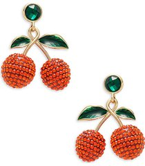 dannijo women's goldplated & glass crystal cherry drop earrings