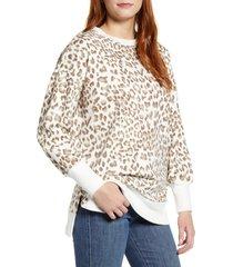 women's caslon side slit cotton sweatshirt, size large - ivory