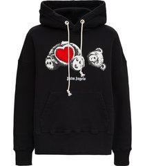 palm angels bear in love hoodie in black cotton