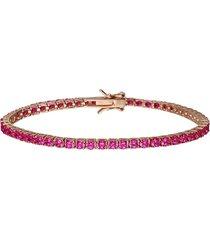 bracciale tennis in argento rosato con zirconi fuxia per donna