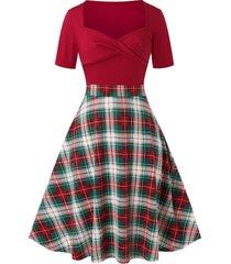 plus size plaid sweetheart neck twisted vintage dress