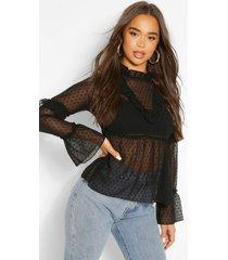 dobby mesh ruffle detail blouse, black