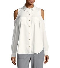 solid cold-shoulder casual button-down shirt