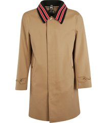 burberry striped collar mid-length coat