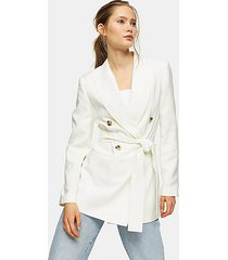 ivory belted double breasted blazer - ivory