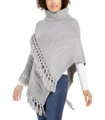 steve madden turtleneck cable-knit poncho with fringe