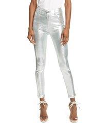 women's rta madrid metallic leather skinny pants, size 30 - metallic