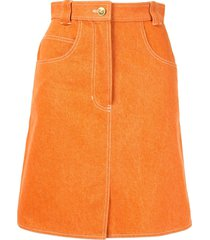 chanel pre-owned stitching details straight skirt - orange
