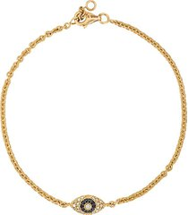 alinka alinka evil eye 18kt gold and diamond bracelet - metallic