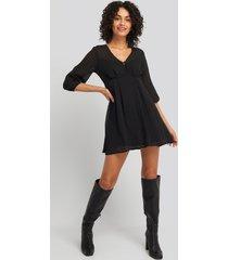 na-kd dobby spot mini dress - black