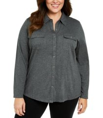 karen scott plus size button-front collared top, created for macy's