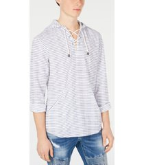 inc men's stripe lace-up hooded shirt, created for macy's
