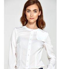 bluzka z ozdobną klapą po lewej stronie ecru