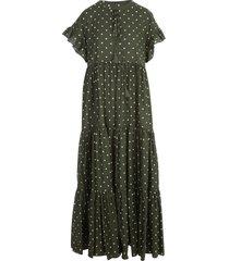 parosh long dress cotton voille w/flounce