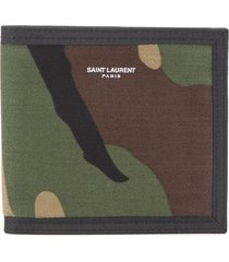 saint laurent east/west camouflage bifold wallet - green