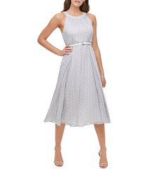 solo polka dot chiffon a-line dress
