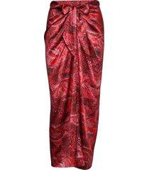 silk stretch satin knälång kjol röd ganni