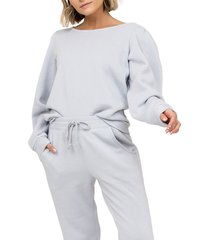 women's rachel parcell puff sleeve sweatshirt, size xx-large - blue
