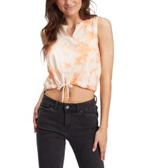 roxy tie dye drawstring waist t-shirt, size x-small in toasted nut at nordstrom