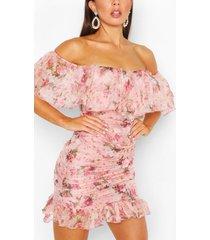 chiffon bloemenprint mini jurk met uitgesneden hals, pink