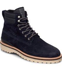 roden mid lace boot snörade stövlar blå gant